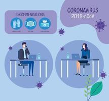 campanha de recomendações de ncov 2019 no escritório com casal de negócios e ícones vetor
