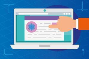 pesquisando informações ncov 2019 on-line em um laptop vetor