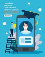graduação em educação online com ícones vetor