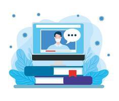 homem usando máscara facial estudando online em um computador desktop vetor