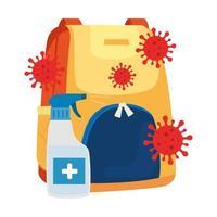 garrafa spray desinfetante com bolsa escolar vetor