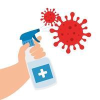garrafa spray desinfetante com partículas covid 19 vetor