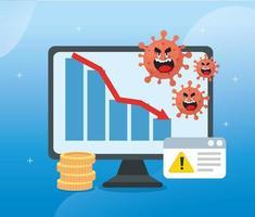 coronavirus 2019 ncov impacta economia global, covid 19 vírus prejudica a economia, impacto econômico mundial covid 19, computador com ícones vetor