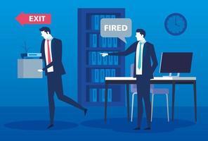 chefe despedindo empresário, despedimento, desemprego, conceito de desemprego e redução de empregos de funcionários vetor