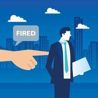 demitido, empresário triste despedido, demissão, desemprego, desemprego e conceito de redução de emprego vetor