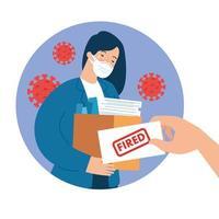 mulher de negócios demitida do trabalho por causa da pandemia de 19 vetor