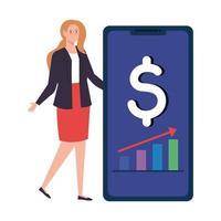 estatística de mulheres em dispositivos de smartphone, infográfico e elementos gráficos, relatório de estatísticas financeiras, tecnologia de aplicativo móvel vetor