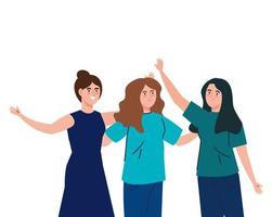 mulheres felizes juntas, grupo de amigas, irmandade em fundo branco vetor