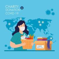 mulher com caixas de papelão para doação, assistência social, durante o coronavírus 2019 ncov vetor