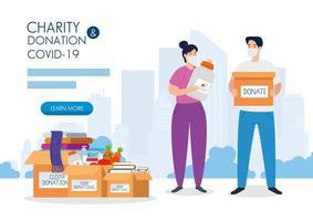 casal com caixas de doação de papelão, assistência social, durante o coronavírus 2019 ncov vetor