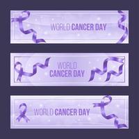 elegante conjunto de banner roxo do dia mundial do câncer vetor