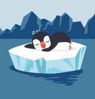 pinguim dormindo em vetor de bloco de gelo