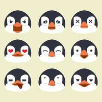 conjunto de vetores de emoção de rosto de pinguins