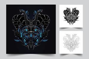 ilustração de arte de máscara de dragão vetor