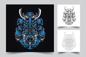 ilustração de arte mecha japão ronin vetor