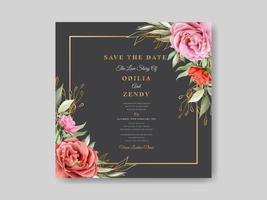 modelo de cartão de convite de casamento em aquarela floral vetor