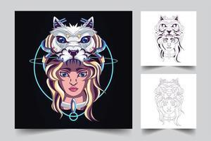 ilustração de arte de lobo feminino vetor
