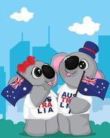 casal bonito dos desenhos animados de ursos coala na cidade. 26 de janeiro cartaz feliz dia da Austrália.