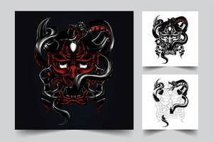 ilustração da arte da cobra do diabo vetor