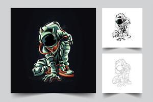 ilustração de arte de luta de astronauta vetor
