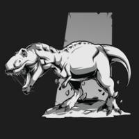 dinossauro t rex preto branco bravo vetor