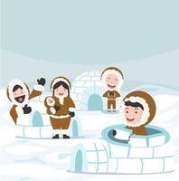 Inuit construindo um vetor de casa de gelo em iglu