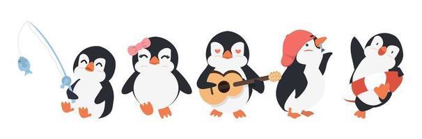 Pinguim bonito dos desenhos animados em diferentes poses