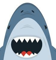 vetor de boca aberta de tubarão branco fofo
