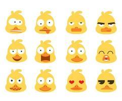 conjunto de emoção cara cabeça de pato
