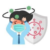 empresário com sintomas de coronavírus covid-19 e escudo vetor