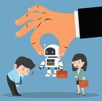 mão do empregador escolhendo robô com empresários vetor