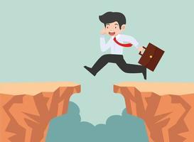 empresário pulando por uma brecha vetor