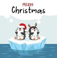 pinguins desejando feliz natal em um bloco de gelo vetor