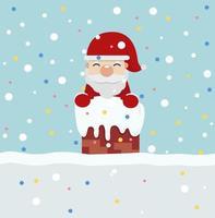 Papai Noel no vetor do telhado