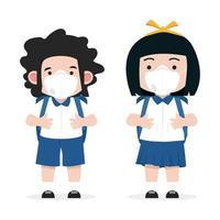 crianças em idade escolar usando máscara n95 para proteger vetor