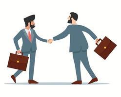 dois empresários apertando as mãos em ternos