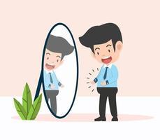 empresário em pé no espelho com ilustração acima do peso vetor