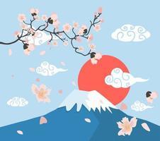 ramos de flores de sakura no monte fuji vetor