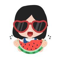 linda garota comendo uma fatia de melancia fresca vetor