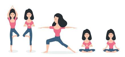mulheres praticando poses de ioga