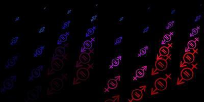 padrão de vetor azul escuro e vermelho com elementos do feminismo.