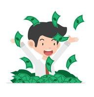 empresário jogando notas de dólar
