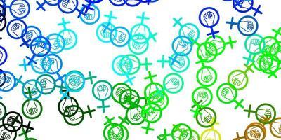 pano de fundo azul claro e verde do vetor com os símbolos do poder da mulher.
