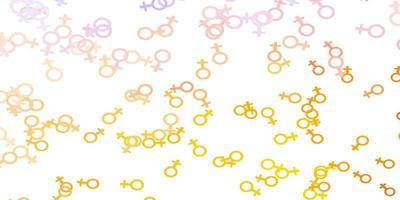 padrão de vetor azul e amarelo claro com elementos do feminismo.