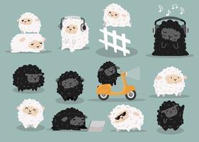 ovelhas fofas fazendo diferentes atividades coleção de desenhos animados vetor