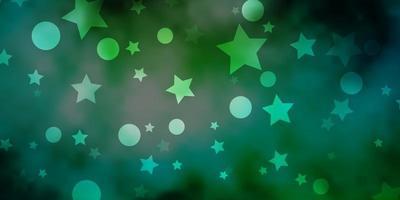 fundo vector azul claro, verde com círculos, estrelas