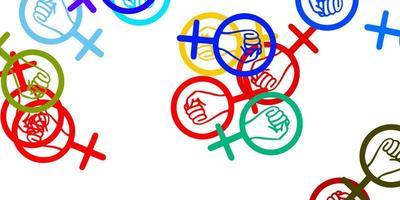 textura leve luz multicolor com símbolos dos direitos das mulheres.