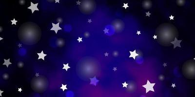 pano de fundo vector roxo escuro, rosa com círculos, estrelas.