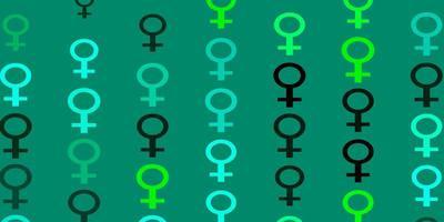 cenário de vetor verde claro com símbolos de poder da mulher.