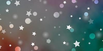 layout de vetor verde e vermelho claro com círculos, estrelas.